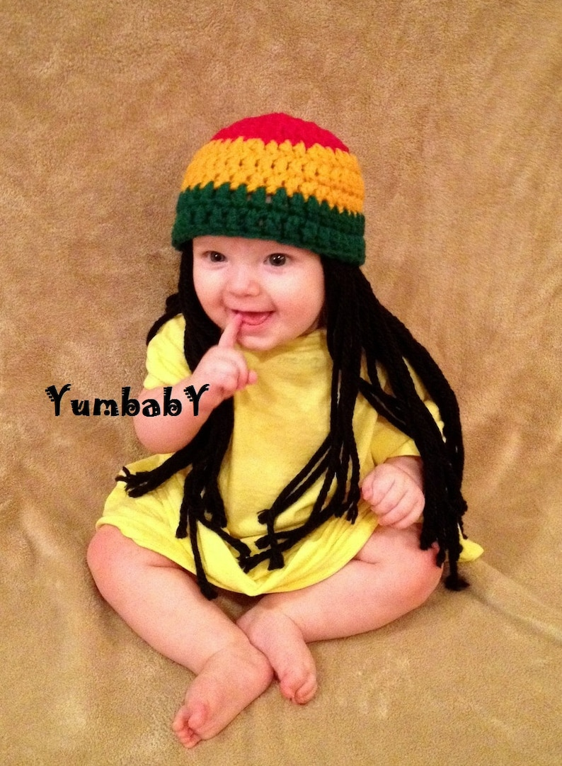 a924e037be1 Baby Hats Rasta hat Photo Props Toddler Costume Beanie Wig