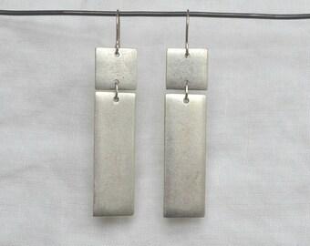 Rectangular Tag Earring, Silver