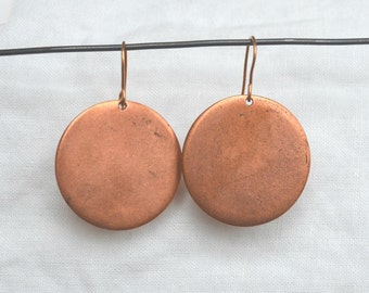 Tag Earring, Large Copper