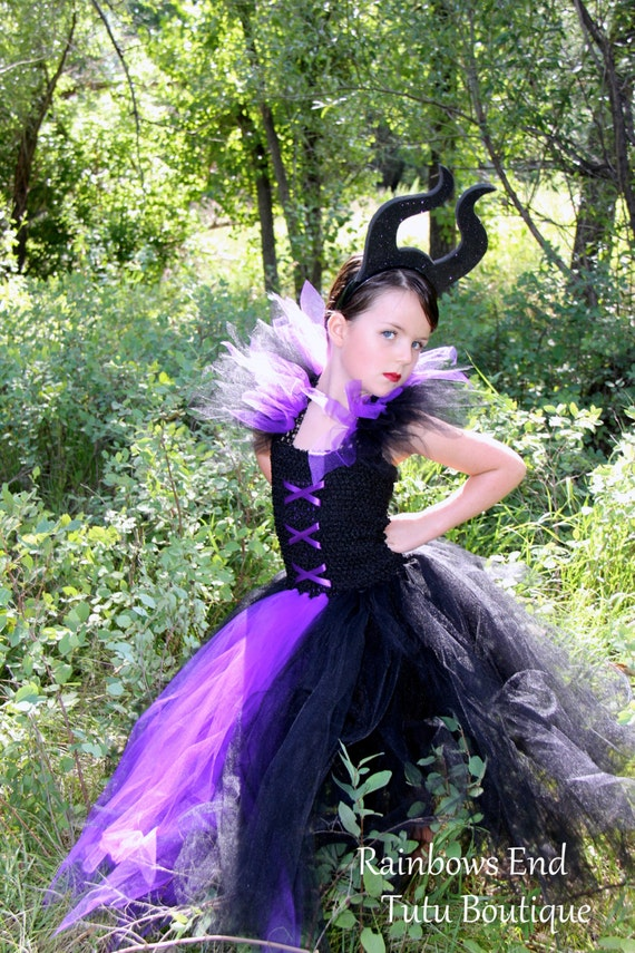 Maleficent Tutu Dress girls black purple costume Halloween