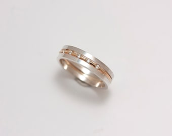 14k Gold and Sterling Silver Three Band Ring with Seven Diamonds - OOAK