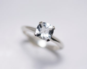 Sterling Silver Cushion Cut White Topaz Ring