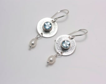 Sterling Silver Embellished Sky Blue Topaz Earrings with Oval Freshwater Pearl Dangles