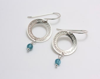 """Sterling Silver Embellished 5/8"""" Wreath Hoops with Pearl or Gemstone Dangle"""