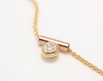 Minimalist 14k Gold Tube Bezel Set Diamond Pendant Necklace