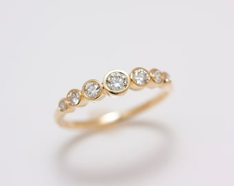 14k Yellow or White Gold Minimalist 7 Graduated Bezel Set Diamonds Band .50 carat total weight - Wedding, Engagement or Anniversary Ring