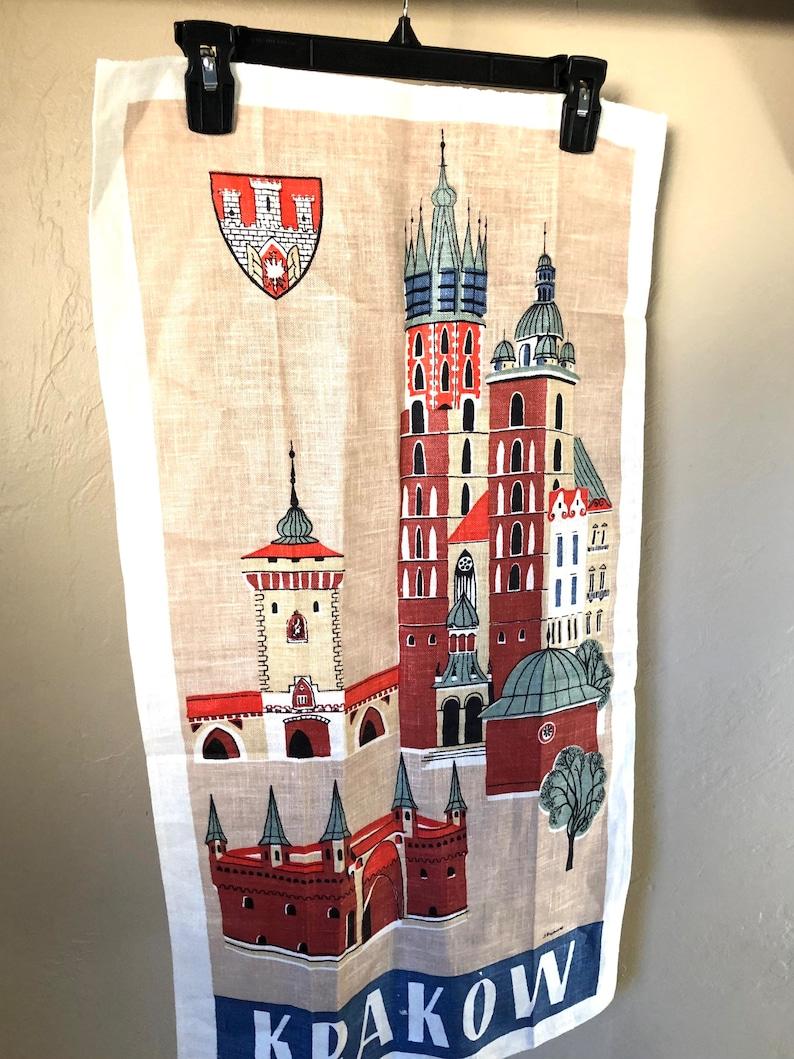 Vintage Krakow Poland Linen Tea Towel In Mint Condition