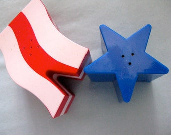 Vintage Red White and Blue Flag Salt and Pepper Shakers