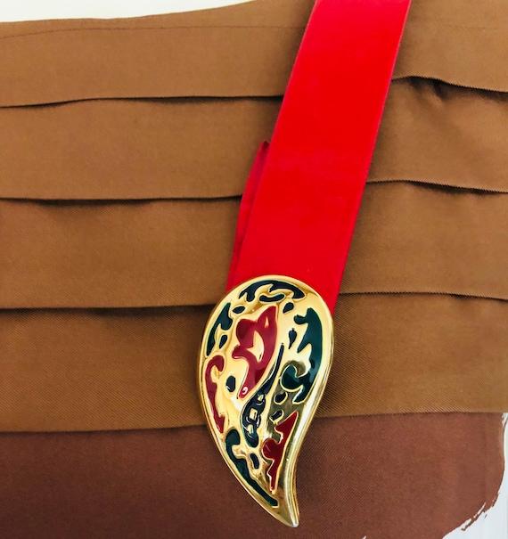 Vintage Dottie Smith Red Belt With Paisley  Belt B