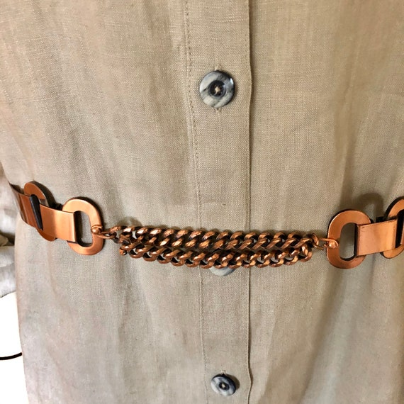 Small Unsigned Mid Century Copper Belt By Matisse