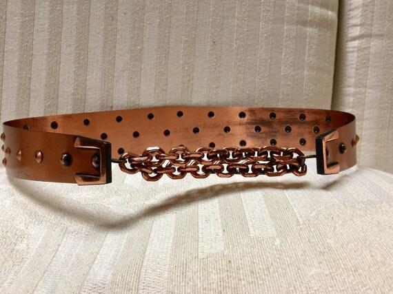 """Vintage MCM Renoir Copper Belt Size Small (30"""" Lon"""