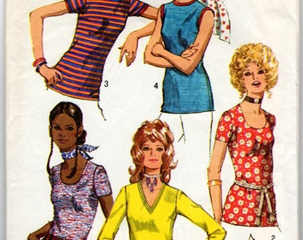 """1970's Women's Top or Blouse Pattern - Size 14, Bust 36"""" - Simplicity 9365"""