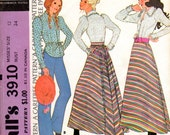 """1970s Women's Western Bloues and Skirt Pattern - Size 12, Bust 34"""" - McCall's 3910"""