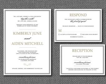 DIY Printable Traditional Simple Wedding Invitation Suite