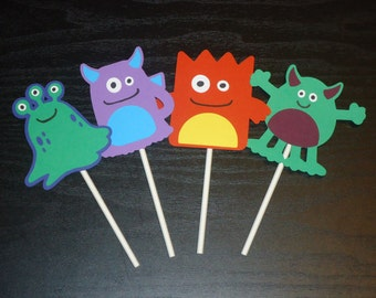 Set of 12 Little Monster Cupcake Toppers