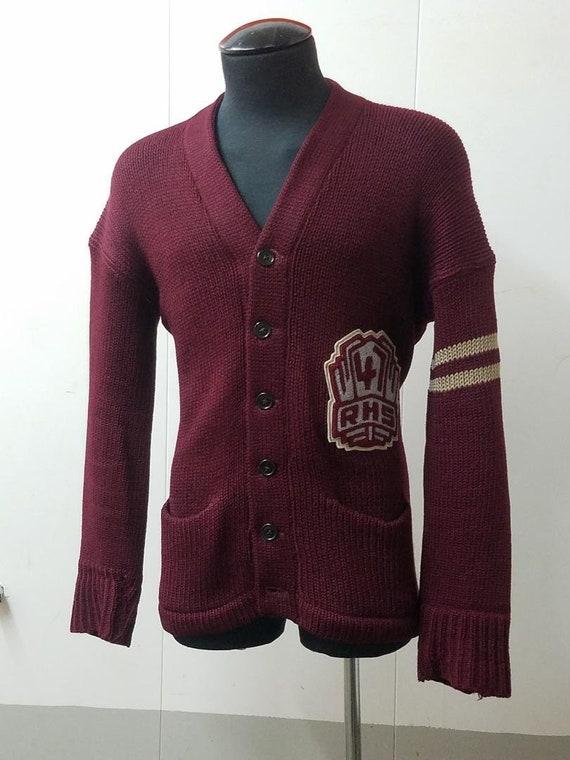 1940's Heavy Knit Maroon School Sweater Size L Roc