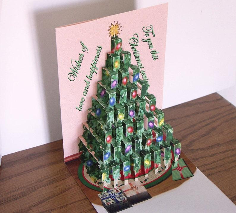 Pop Up Christmas Tree Card Merry Christmas Etsy
