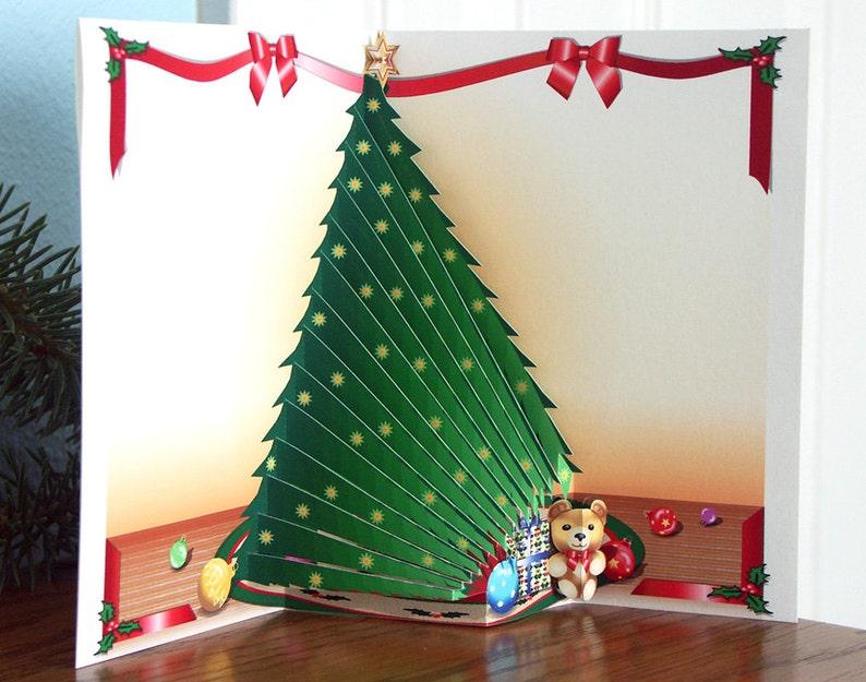 Popup Christmas Tree Card With Teddy Bear Merry Christmas Etsy