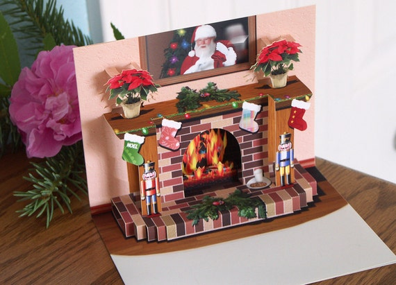 Christmas Fireplace Screen.Pop Up Christmas Fireplace Card With Popup Poinsettias