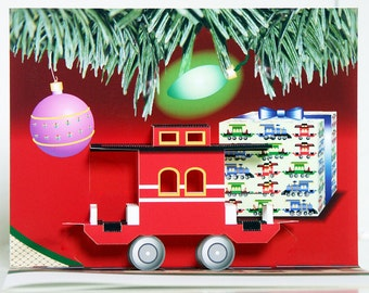 3D Pop-up Red Train Caboose Christmas card