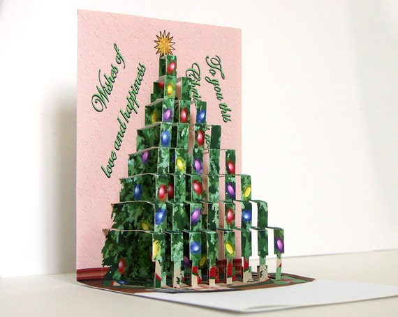 pop up christmas tree card merry christmas