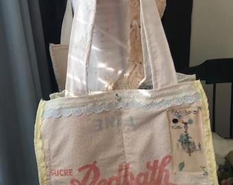 Vintage Shabby Chic Market Bag  vintage tablecloth market bag  shabby chic tote bag  granny chic bag   vintage  gypsy soul bag