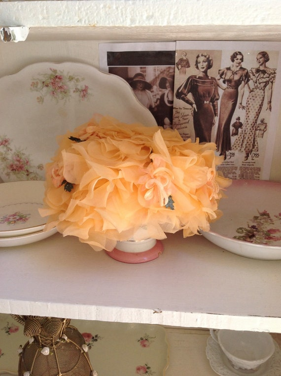 1940s sherbet orange millinery flower petal hat, v