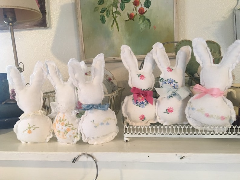 Vintage linen crib bunny crib toy easter rabbits you choose by bow tie colors in drop down