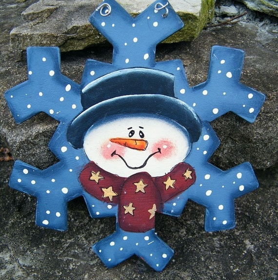Items similar to Snowman Snowflake Ornament: Hand Painted ...
