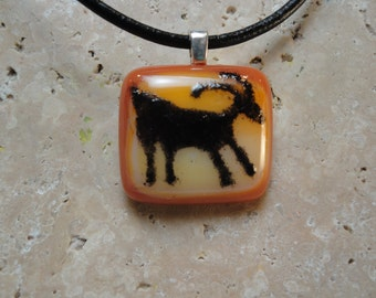 Petroglyph Pendant -Fused Glass - BHS01287