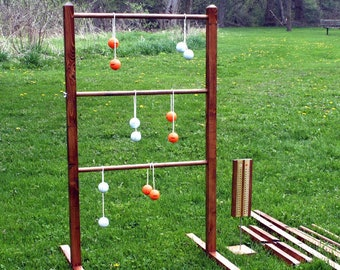 Wooden Ladder Ball Game Sets - Outdoor Wedding Game -  Family Reunion, Tailgate Party, Work Picnic, Cottage Barbecue & beach parties