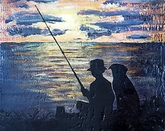 Acrylic Sunset Painting on Distressed Wood - Boy Fishing with his dog silhouette Hand painted original Friendship artwork on Pine plank
