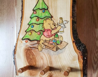 Christmas Stocking Hanger Winnie The Pooh Live Edge Wood Resin Coated Wall Mounted Clothes Rack Wood burned & Painted Christmas Decoration