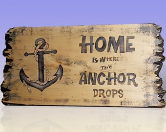 Weathered Anchor Sign - Rustic Style Wooden Home sign, Beach and Pool Decor
