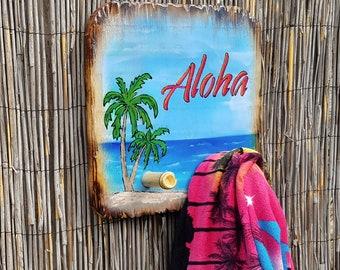 Tiki Bar Decor   Pool Bar Tiki Hut Towel Holder Hat Rack Hawaiian Decor  Tropical Decor
