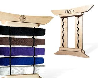 Maple Martial Arts Belt Displays - Personalized Wall Mounted Belt Racks for Karate Taekwondo, Brazilian Jujitsu BJJ, Name Logo Engraved