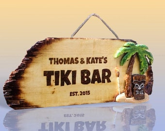 Wooden Tiki Signs for your Backyard Pool Bar and Patio Cabana - Colorful Distressed Wood Sign Housewarming Gift  Fathers Day Beach sign palm