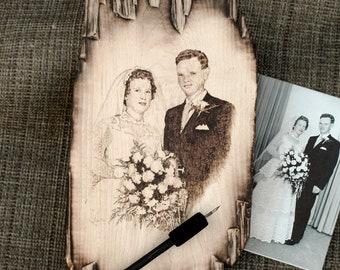 Wood Wedding Photography portrait from photo custom portrait Wood Burned art Pyrography wall art bridal gift ideas on wood photo Bride groom