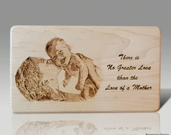Mothers Day Wood Burned Plaque Gift Burning Pyrography Art Gifts For Her Nursery Decor Wooden Sign Baby Photo Moms Love Child Picture