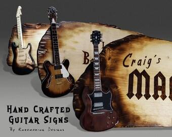 Custom Signs Wooden Pyrography Wood Burning Wall Hanging Personalized Guitar Tiki Bar Decor Man Cave Sign