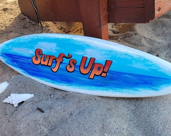 Surfboard Airbrush Painting on Wood - Tropical Beach Bar Decor Surf Board Pool Bar Sign Surfing Wall Art Painted Beach Sign Surfs Up