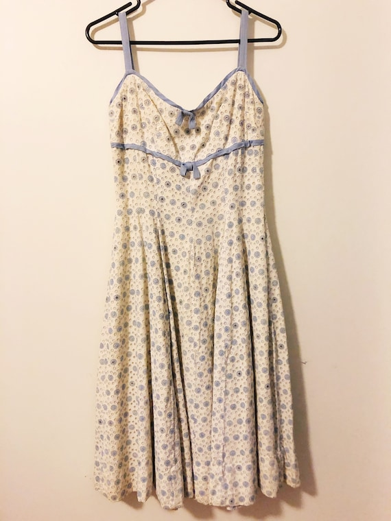1950's cotton white and blue eyelet dress