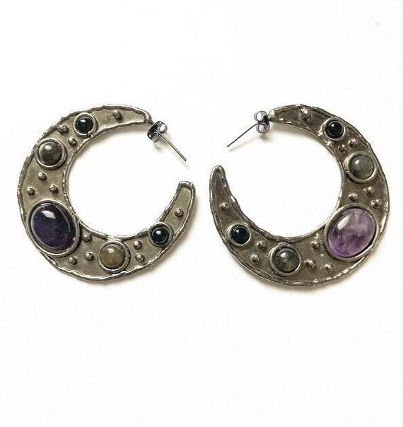 Large silver amethyst crescent moon earrings