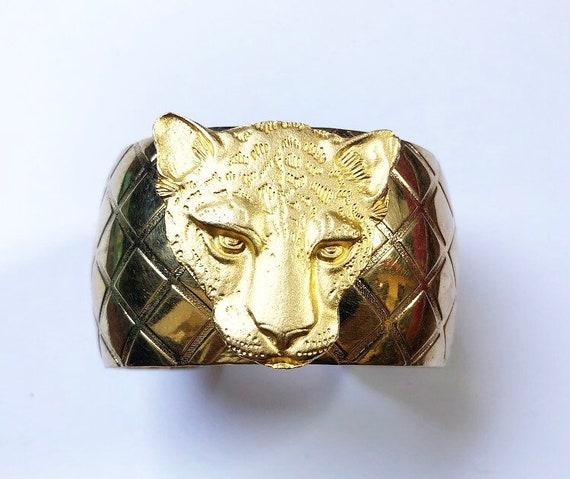 Gold jaguar cougar cuff bracelet