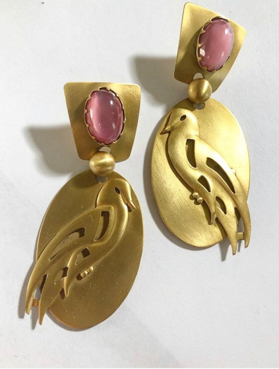 Rare Sadie Green signed bird earrings