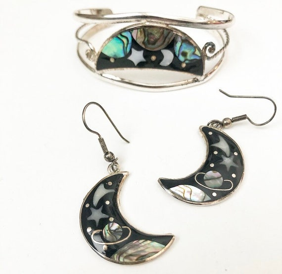 Alpaca star, planet and moon cuff and earrings - image 1