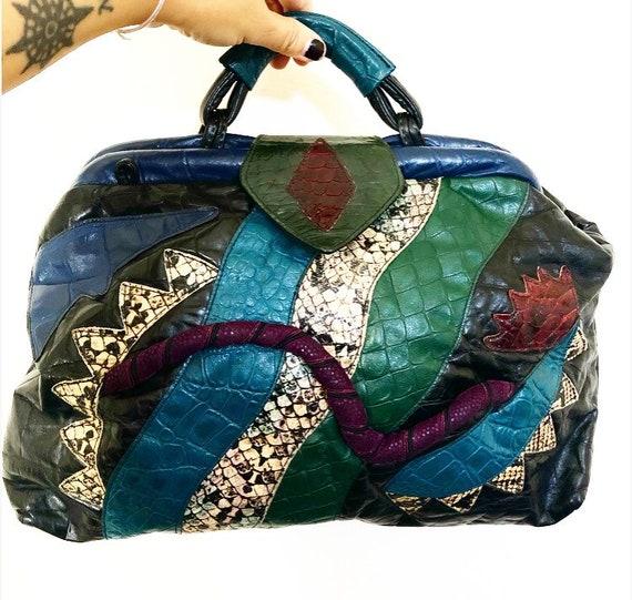 Vintage samir leather patchwork handbag purse