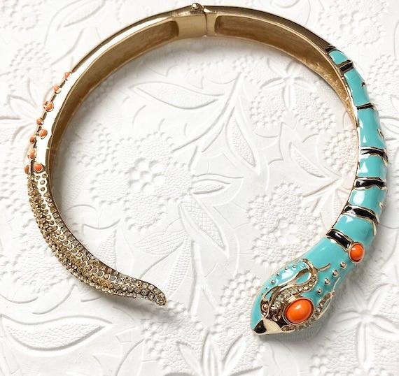 Enamel blue and orange snake serpent choker neckla