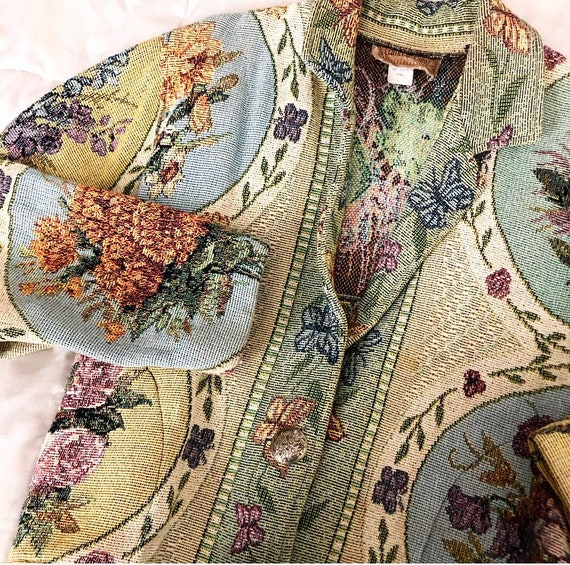 Painted pony cotton tapestry floral jacket
