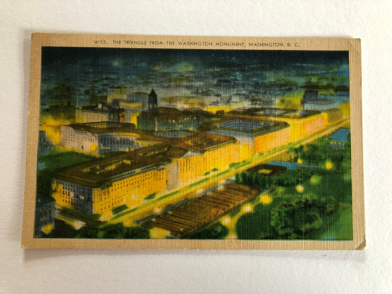 Washington DC Vintage Washington DC Postcard The Triangle from the Washington Monument and